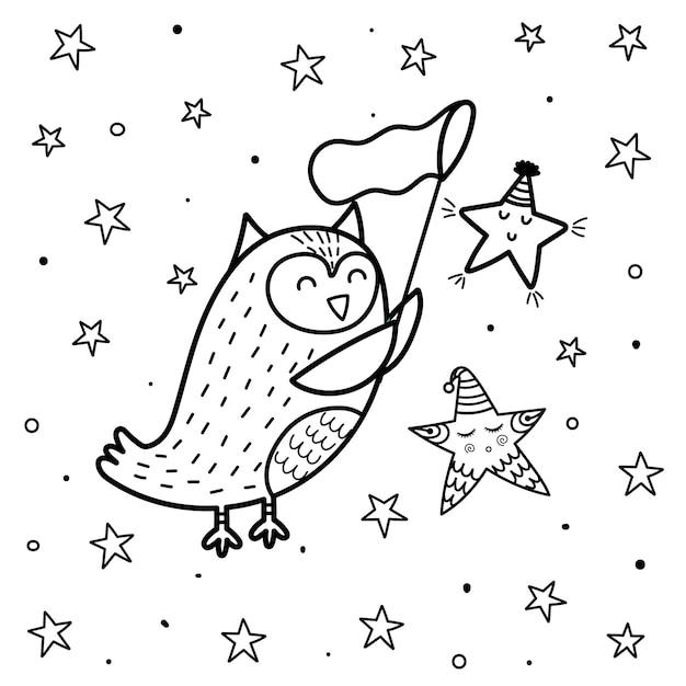 Magische koelpagina met een schattige uil die een ster vangt. zwart-witte fantasieprint voor kinderen. Premium Vector