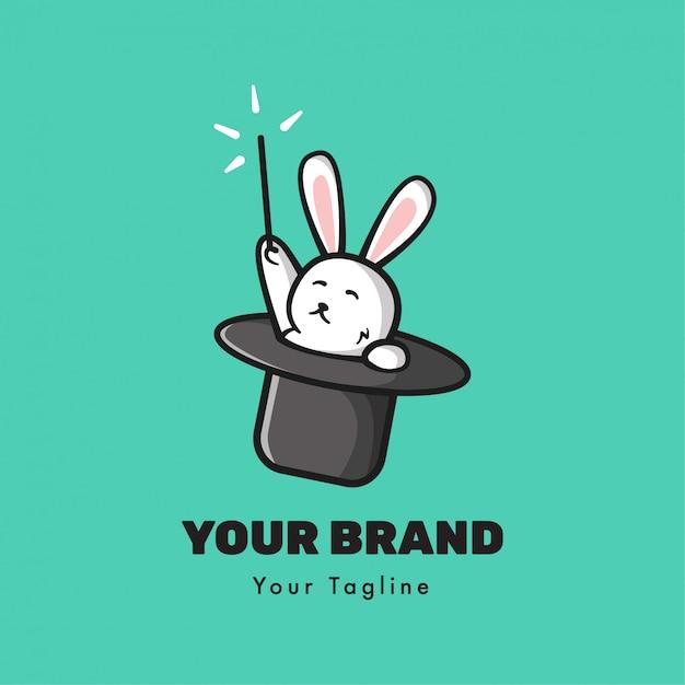 Magische konijn logo sjabloon Premium Vector