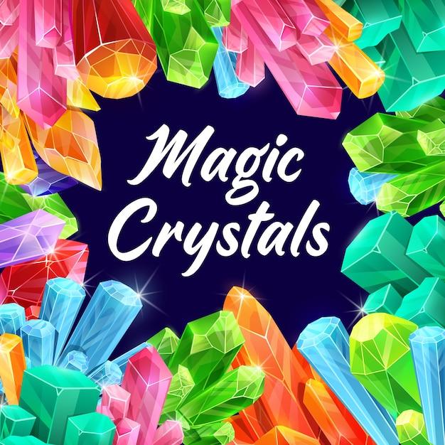 Magische kristallen, sprookjesachtige edelstenen en fantasiemineralen. Premium Vector