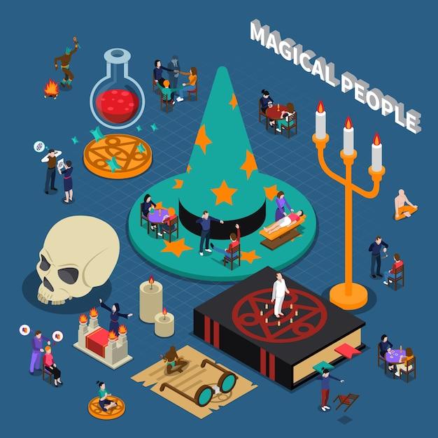 Magische mensen isometrisch ontwerp Gratis Vector