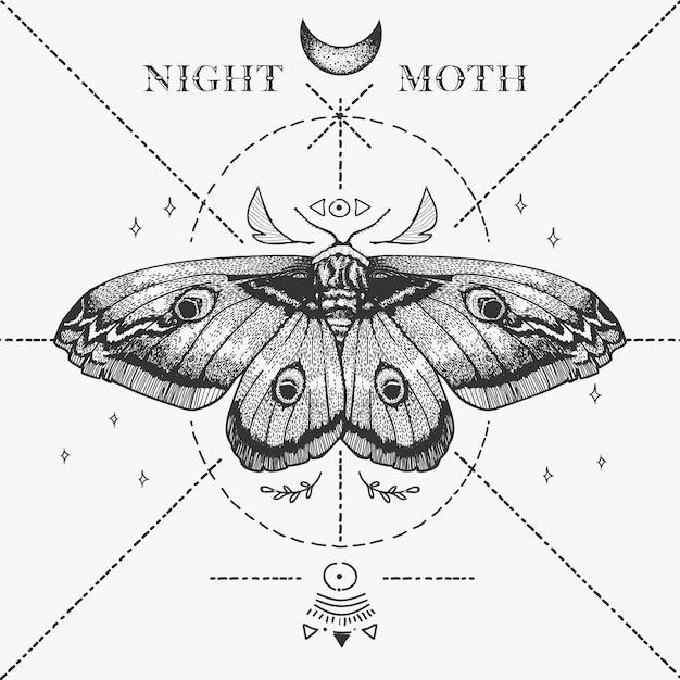 Magische nachtvlinder schets Premium Vector