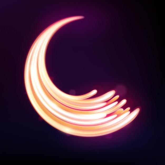 Magische neonlicht gebogen lijnen Premium Vector