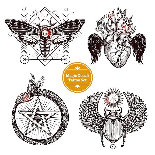 Magische occulte tattoo set Gratis Vector