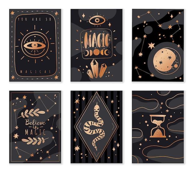 Magische pictogrammen doodles gouden kaarten Premium Vector