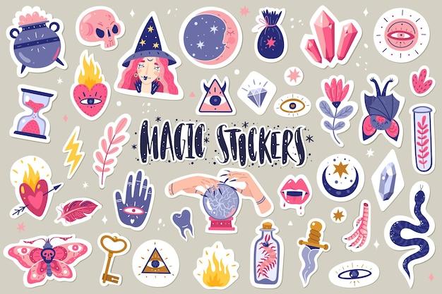 Magische pictogrammen doodles stickers illustratie Premium Vector