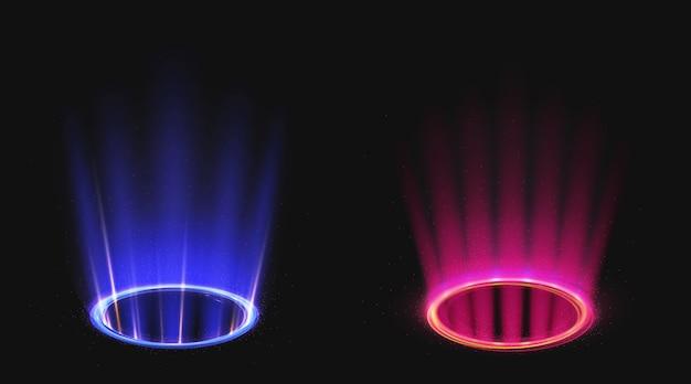Magische portalen met blauw en roze lichteffect Gratis Vector