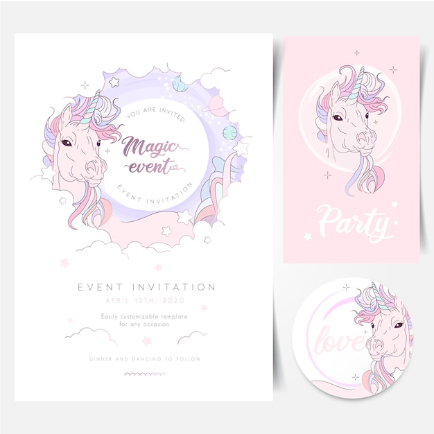 Magische ruimte unicorn birthday party uitnodiging Premium Vector