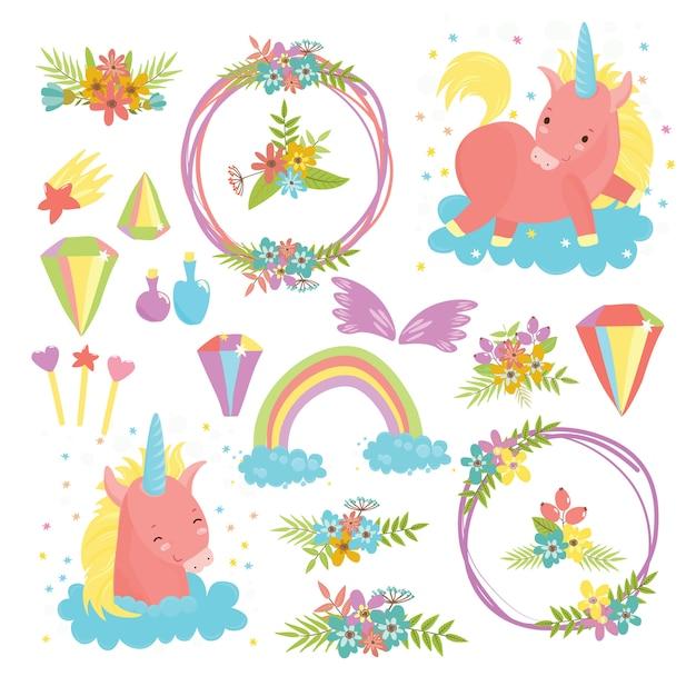 Magische set met eenhoorns. schattige paarden, een wereld van dromen en dromen Gratis Vector