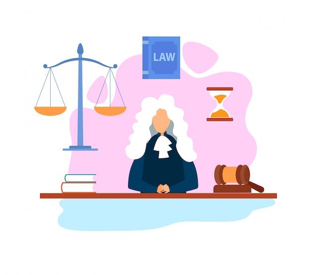 Magistraat in courtroom flat Premium Vector