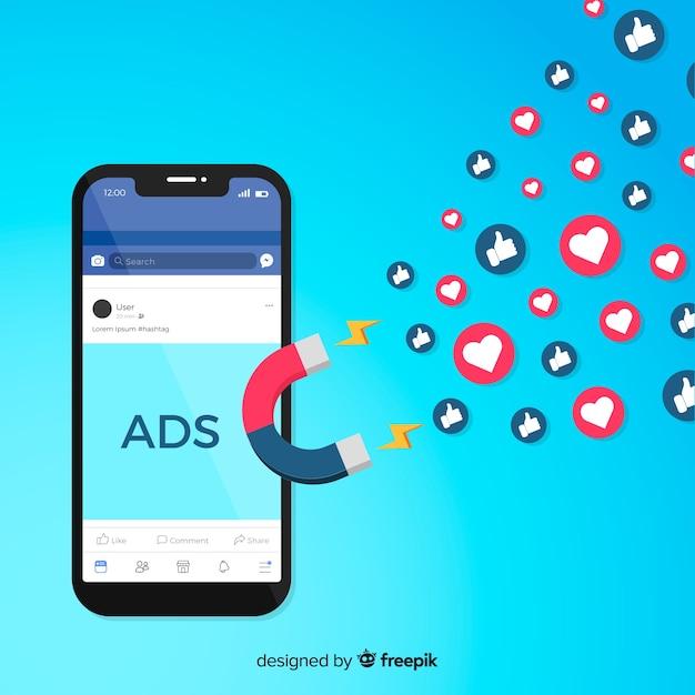 Magneet facebook advertenties achtergrond Gratis Vector