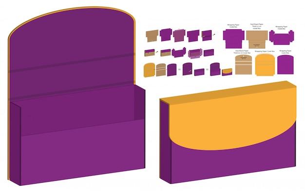 Magnet lock box packaging gestanst sjabloonontwerp. 3d mock-up Premium Vector