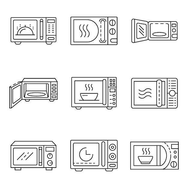 Magnetron pictogrammen instellen. overzicht set magnetron vector iconen Premium Vector