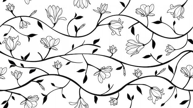 Magnolia bloemen naadloos patroon Premium Vector