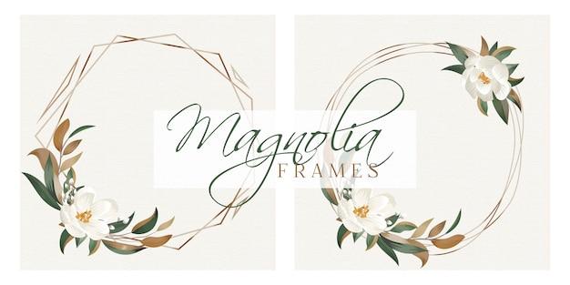 Magnolia frames Premium Vector
