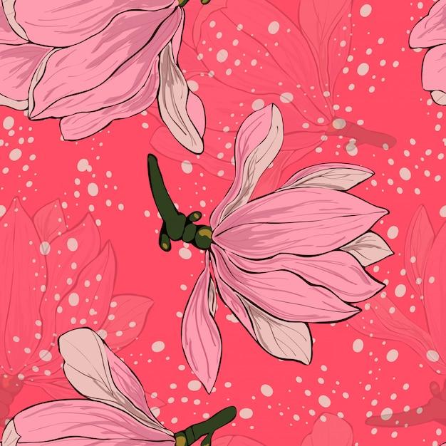 Magnolia roze bloemen naadloze bloemmotief. Premium Vector