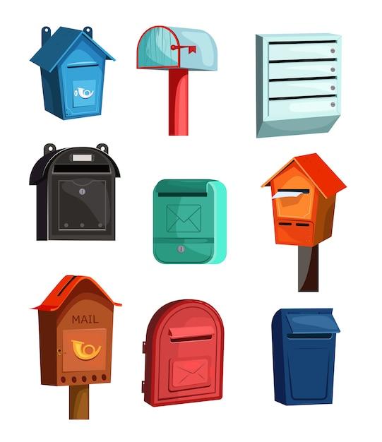 Mail vakken pictogrammen instellen Gratis Vector