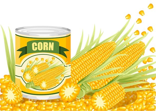 Maïs in aluminium blik. ingeblikte suikermaïs met maïskolflogo. product voor supermarkt en winkel. illustratie op witte achtergrond. Premium Vector