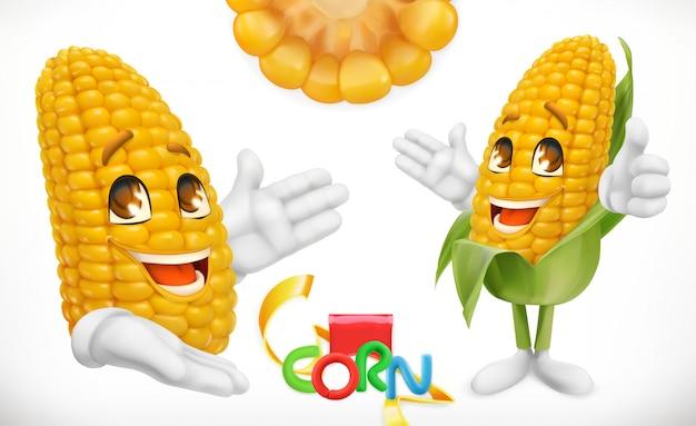 Maïs, stripfiguur. eten voor kinderen. 3d Premium Vector