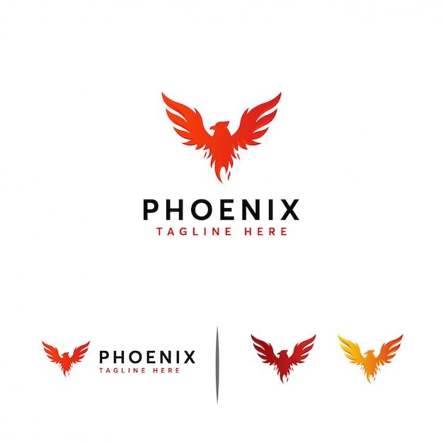 Majesteit phoenix logo sjabloon Premium Vector