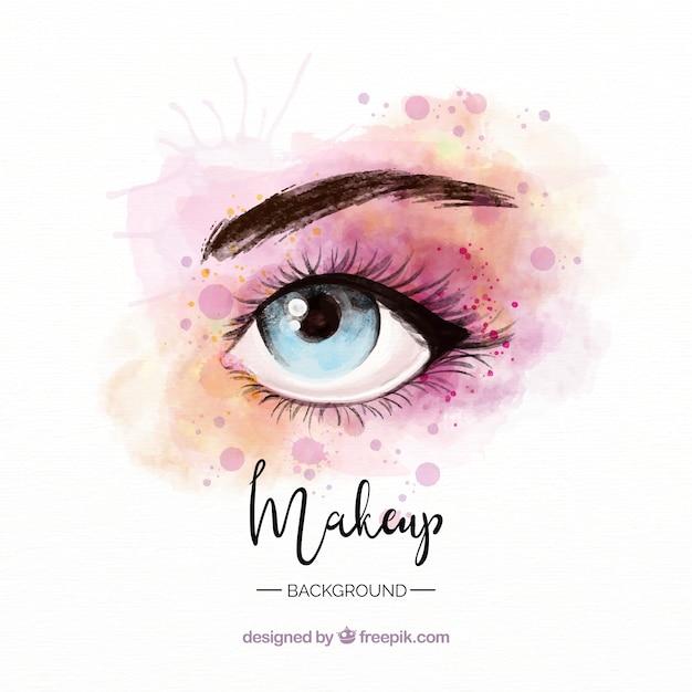 Make-up achtergrond met aquarel oog Gratis Vector
