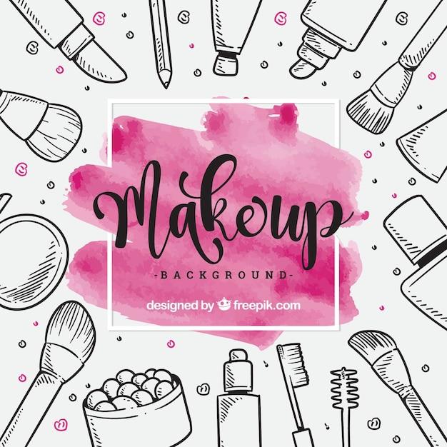 Make-up achtergrond met hand getrokken elementen Premium Vector