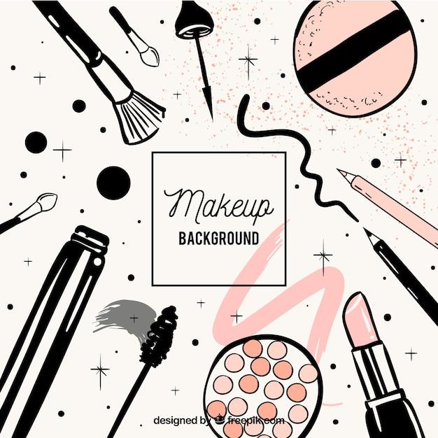 Make-up achtergrond met hand getrokken stijl Gratis Vector