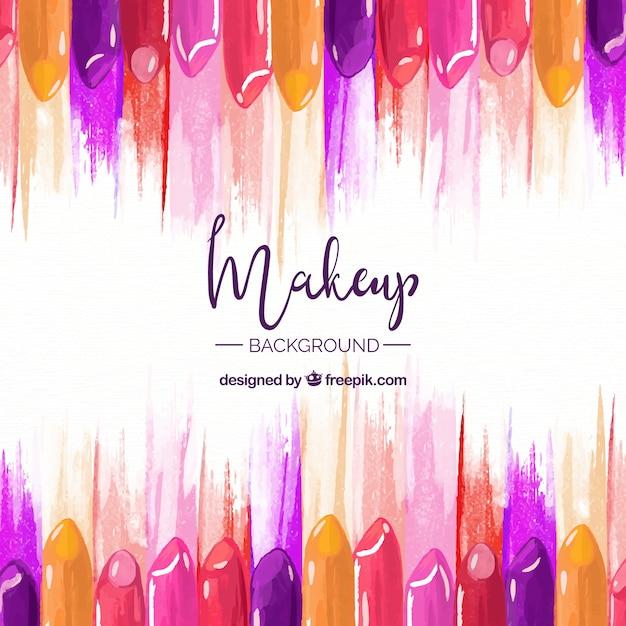 Make-up achtergrond met kleurrijke lippenstift Gratis Vector