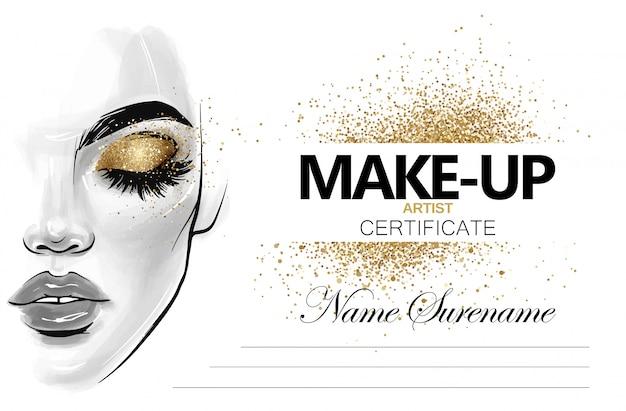 Make-up artist certificaat. schoonheid school diploma ontwerpsjabloon. Premium Vector