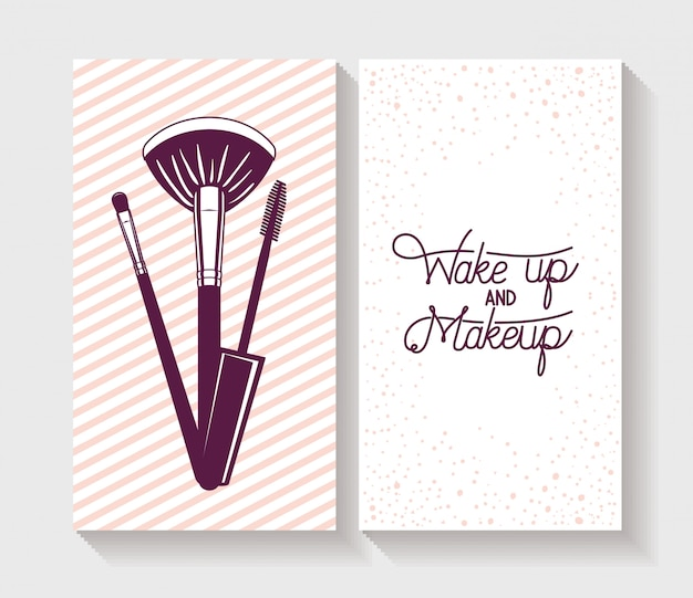 Make-up borstels accessoires in kaart Gratis Vector