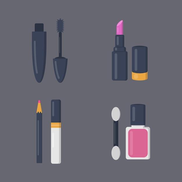 Make-up cosmetica set van pictogrammen in cartoon. schoonheidssalon en vrouw cosmetische tijdschriftillustraties. Premium Vector