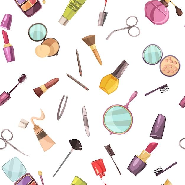 Make-up cosmetische schoonheid zaak accessoires platte naadloze patroon Gratis Vector
