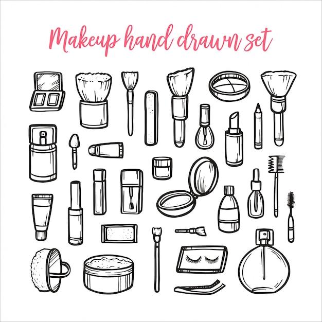 Make-up hand getrokken set. vector vintage illustratie. Premium Vector