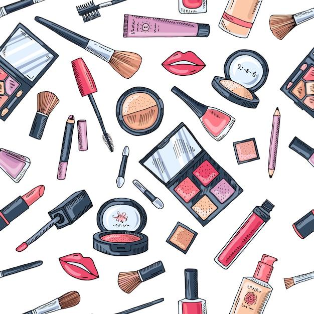 Make-up naadloos patroon. illustraties van verschillende cosmetica. lippenstift en pomade glamour vector achtergrond Premium Vector