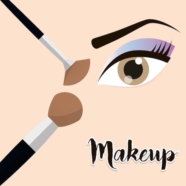 Make-up oog meisje borstel ontwerp Premium Vector
