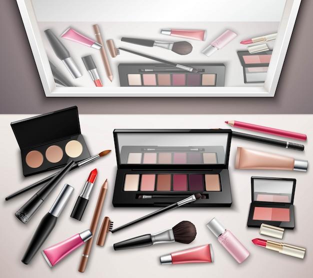 Make-up werkruimtetoebehoren Gratis Vector