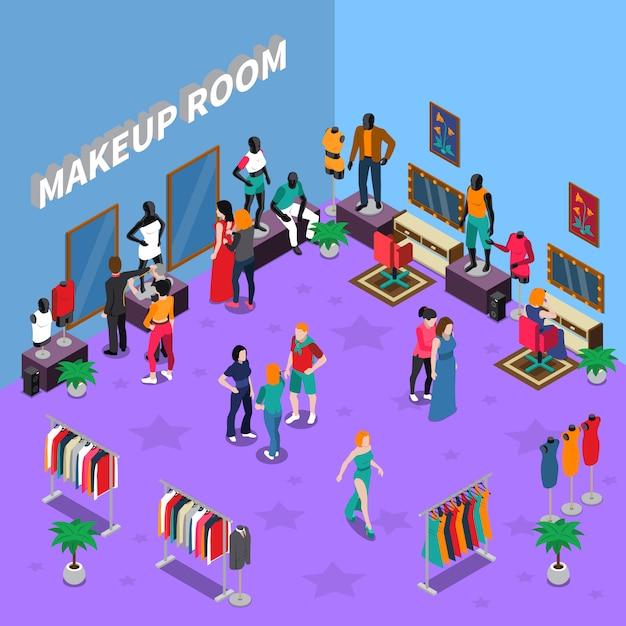 Make-upkamer met mannequins isometrische illustratie Gratis Vector