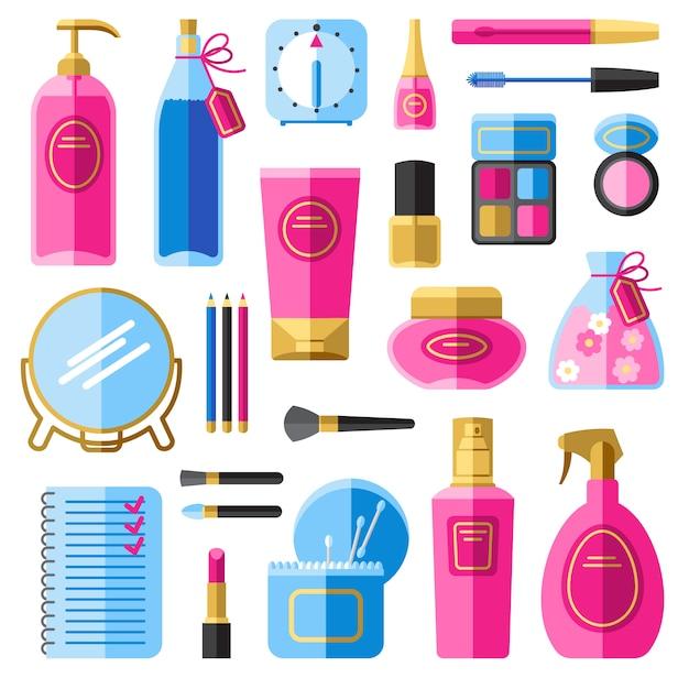 Make-uptoebehoren voor haar en gezichtszorg Gratis Vector