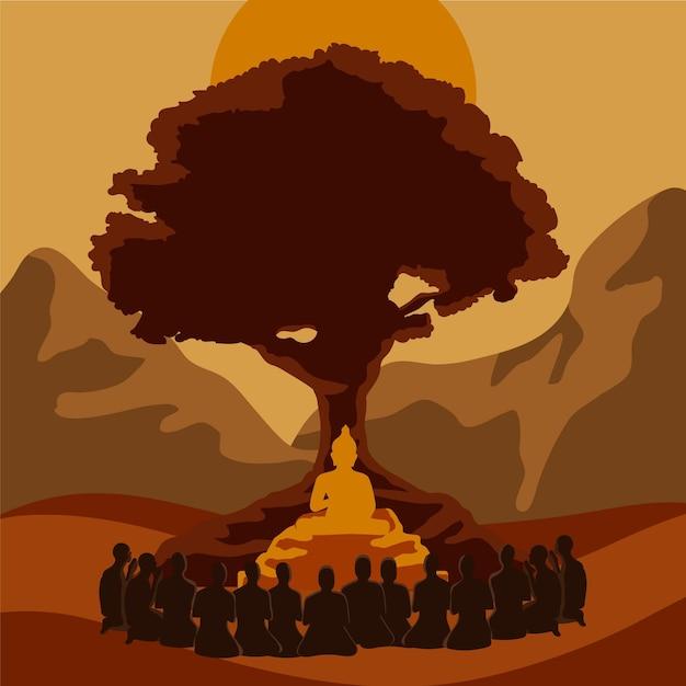 Makha bucha dag illustratie met boom en standbeeld Gratis Vector