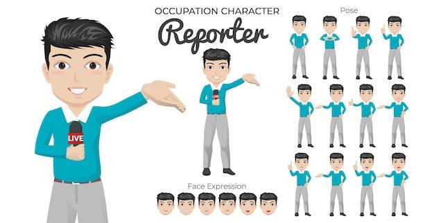 Male reporter character set met een verscheidenheid aan pose en gezichtsuitdrukking Premium Vector