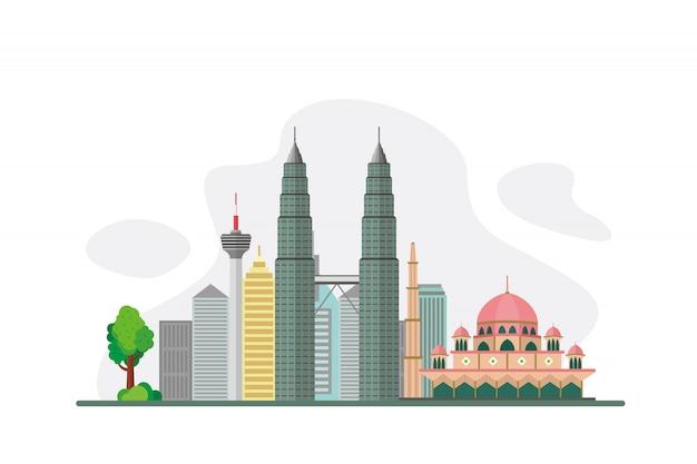 Maleisië beroemde bezienswaardigheden achtergrond Premium Vector