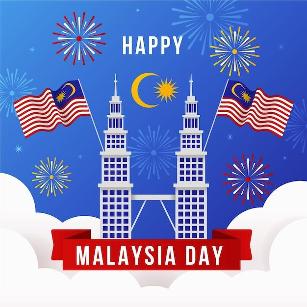 Maleisië dag met vuurwerk Gratis Vector