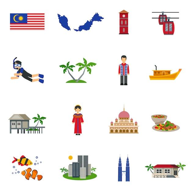 Maleisische cultuur symbolen vlakke pictogrammen instellen Gratis Vector