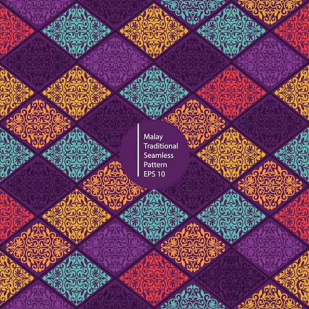 Maleisische kleurrijke traditionele naadloze patroonachtergrond Premium Vector