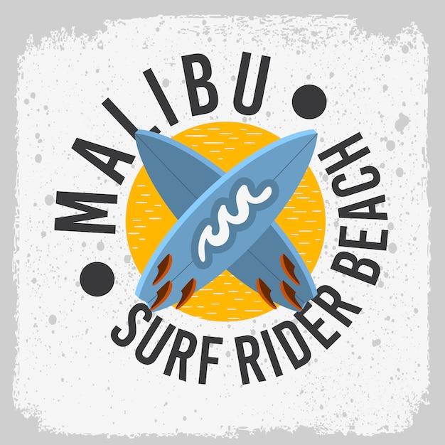 Malibu surf rider beach california surfen surfontwerp met een surfplanklogo-tekenlabel voor promotie advertenties t-shirt of sticker posterafbeelding. Premium Vector