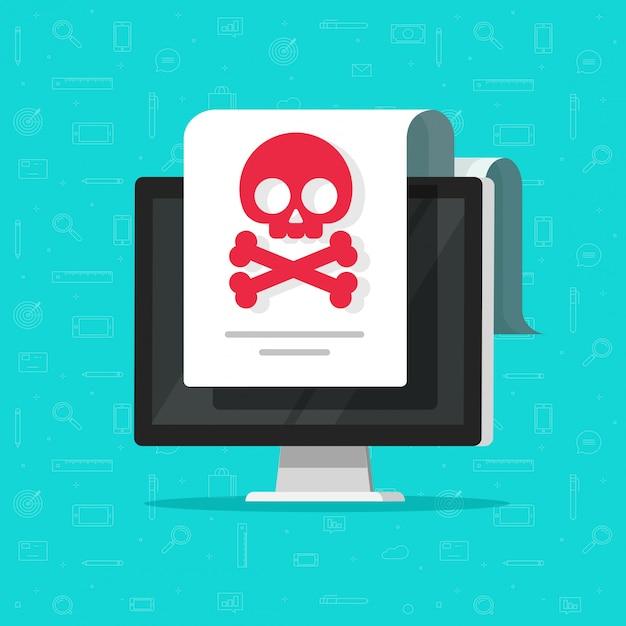 Malwarewaarschuwing of oplichtingsmelding op computerdocument platte cartoon Premium Vector