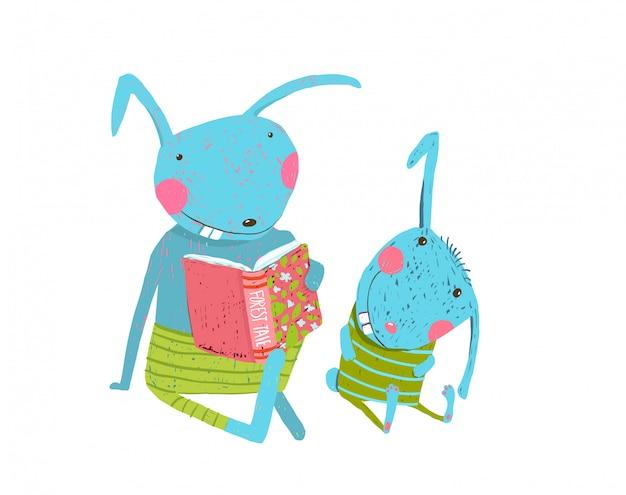 Mama of papa konijn met schattige welp huiswerk studeren, boek lezen. Premium Vector