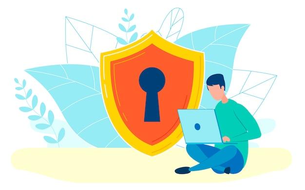 Man aan het werk met laptop platte vectorillustratie Premium Vector