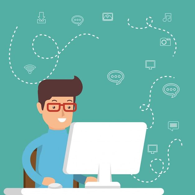 Man aan het werk met social media iconen Gratis Vector