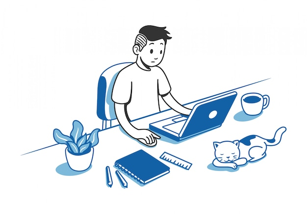Man aan het werk op bureau Premium Vector
