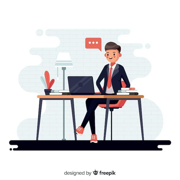 Man aan het werk op kantoor Gratis Vector